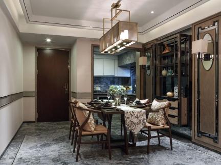 优雅复古中式风格餐厅装修实景图