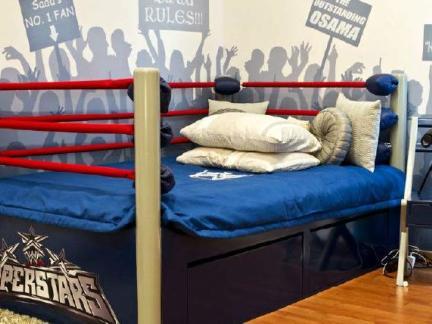创意混搭风卧室床铺装修效果图
