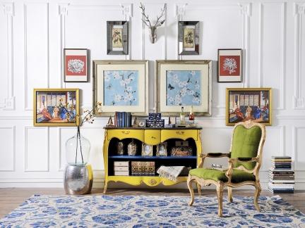 典雅精美西式古典风格黄色储物柜效果图
