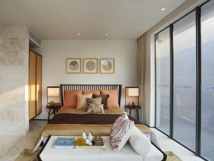 时尚混搭风格三居室卧室落地窗效果图欣赏