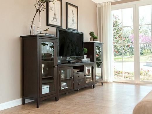 丹佛山庄经典美式红橡系列咖啡色红橡木全实木 客厅电视柜组合