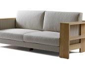 原生居品北美红橡木 黑胡桃木实木骨架布艺沙发双人沙发