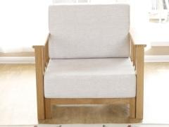 奥斯陆 原木色白橡木全实木布艺沙发单人位