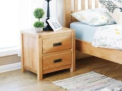 奥斯陆 原木色白橡木全实木两抽床头柜