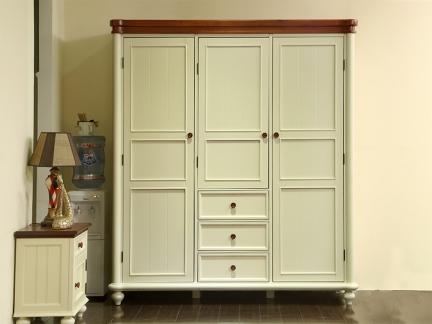美式乡村实木质衣柜卧室衣柜整体衣柜三门衣橱欧式地中海家具做旧