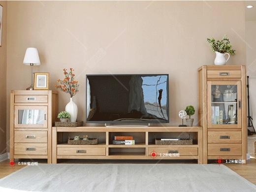奥斯陆 原木色白橡木全实木电视柜边柜
