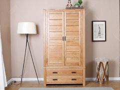 奥斯陆原木色白橡木全实木两门衣柜