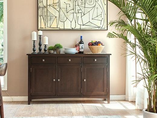 丹佛山庄 红橡木纯实木餐边柜三门三抽餐柜 实木碗柜