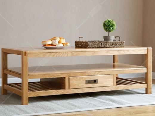 奥斯陆 原木色白橡木全实木茶几客厅家具