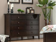 丹佛山庄经典美式红橡系列咖啡色红橡木全实木宽八斗柜