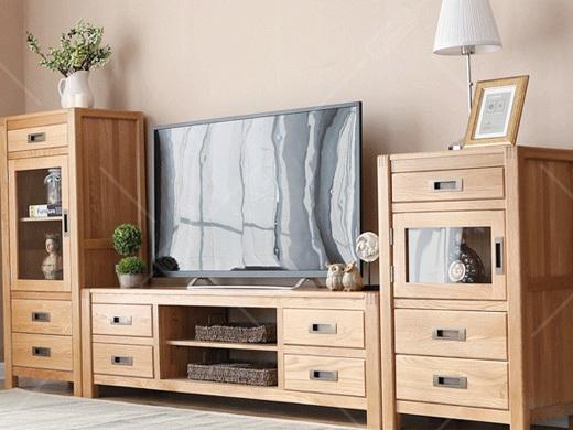 奥斯陆 原木色白橡木全实木客厅电视柜
