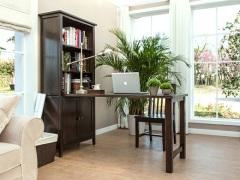 丹佛山庄 红橡木纯实木书柜带书桌 组合书架写字桌