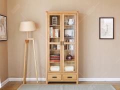 奥斯陆 原木色白橡木全实木两门两抽书柜/置物架