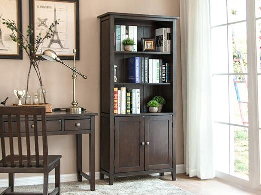 丹佛山庄 红橡木纯实木书架 带门书柜 展示柜