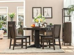 丹佛山庄 经典美式红橡木系列纯实木 圆餐桌