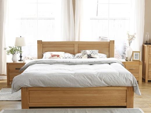 奥斯陆 原木色白橡木全实木1.8米箱体床