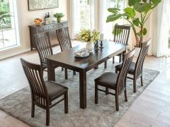 丹佛山庄 经典美式红橡系列咖啡色红橡木全实木 长方形餐桌