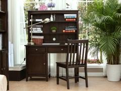丹佛山庄 红橡木纯实木书桌 办公桌 电脑桌 书桌带书柜