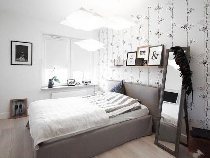 家装简约风格白色卧室床装修设计