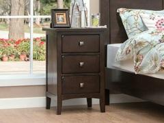 丹佛山庄 红橡木纯实木床头柜 三抽斗柜 床头柜