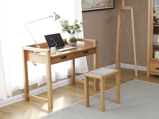 奥斯陆原木色全实木1米带抽屉书桌