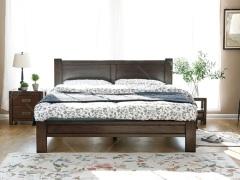 奥兰多 简美黑胡桃色白橡木全实木1.8米双人床