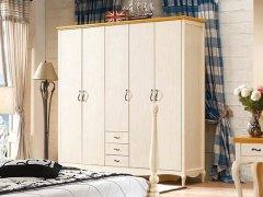 棕榈泉 地中海系列浅色实木五门衣柜