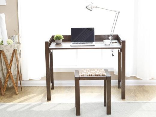 奥兰多 黑胡桃木色白橡木全实木简易书桌