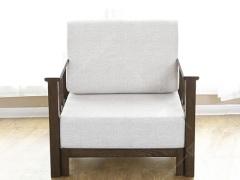 奥兰多 简美黑胡桃木色白橡木全实木单人沙发