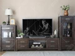 奥兰多 黑胡桃木色白橡木全实木四抽电视柜