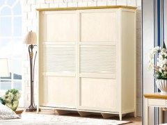 棕榈泉 地中海系列浅色实木推门衣柜