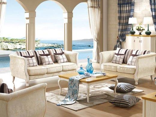 棕榈泉 地中海系列浅色实木布艺沙发1 2 3组合