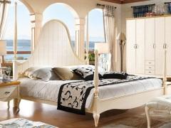 棕榈泉 地中海系列浅色实木四柱双人大床