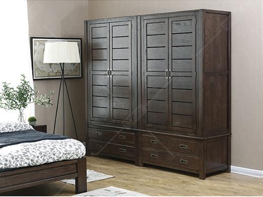 奥兰多 简美黑胡桃色白橡木全实木衣柜