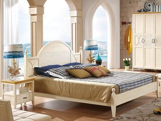 棕榈泉 地中海系列浅色实木1.8米双人床