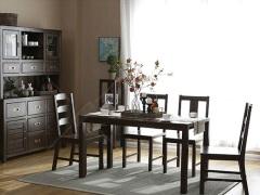 奥兰多 简美黑胡桃木色白橡木全实木1.4米长方形餐桌椅