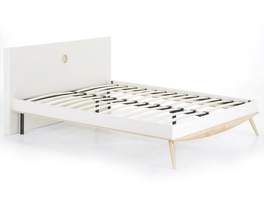 泊系列 现代简约浅色排骨架床