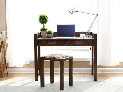 奥兰多 简美黑胡桃木色白橡木全实木带抽屉书桌