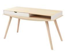 泊系列 现代简约浅色带抽屉1.4米书桌