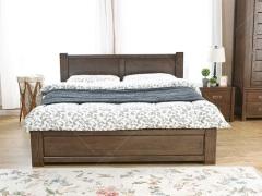 奥兰多 简美黑胡桃色白橡木全实木1.8米高箱储物床
