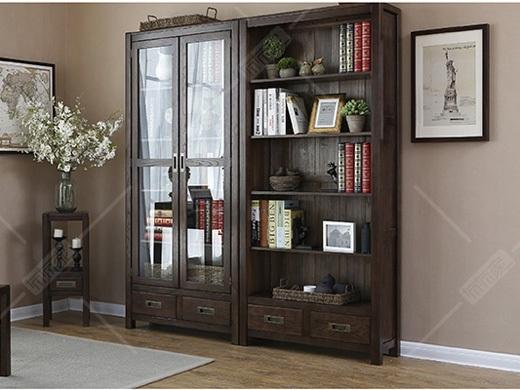 奥兰多 简美黑胡桃色白橡木两门两抽书柜/书架
