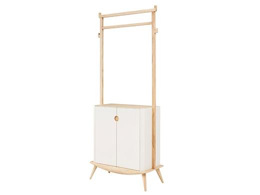 泊系列 现代简约浅色实木鞋柜挂衣柜