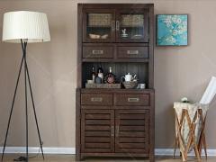 奥兰多 简美黑胡桃木色白橡木纯实木餐边柜