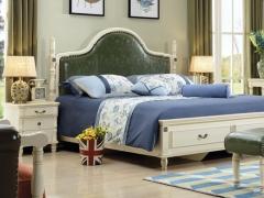 艾美系列 小美式白色白橡木带抽屉双人床YSJZ607
