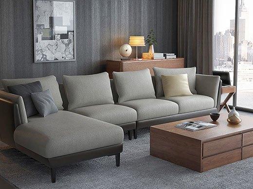 奥丁 可拆洗布艺转角沙发皮布组合
