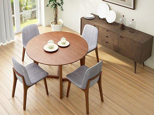 奥丁 胡桃木色实木圆桌椅组合