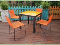 彩色藤编线条椅餐饮咖啡厅外摆桌椅户外桌椅