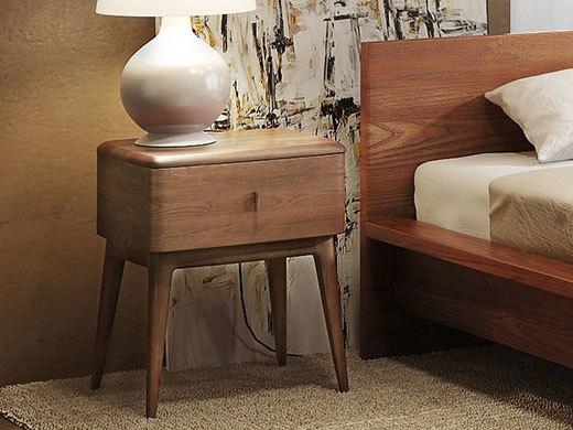 奥丁 胡桃木色水曲柳全实木床头柜/边柜/角柜