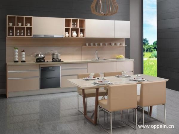 欧派整体厨房装修 环保橱柜定做定制 一字型现代风格厨房橱柜