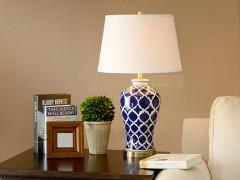 JXDJ台灯系列 蓝色花纹陶瓷台灯4001